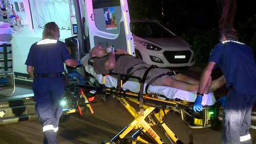 He was taken to hospital with a suspected hip injuries.