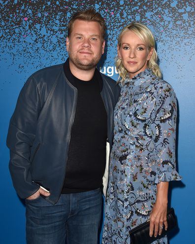 James Corden and wife Julia Carey arrive at 'Carpool Karaoke: The Series' On Apple Music Launch Party at Chateau Marmont on August 7, 2017 in Los Angeles, California.