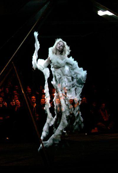 The Kate Moss hologram at Alexander McQueen's Autumn/Winter 2006 show in Paris.