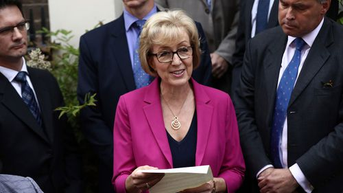 Andrea Leadsom announces her withdrawal from the Conservative leadership race. (Getty)