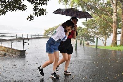 Tourists are seen walking through the rain at Mrs Macquarie's Chair during the hail storm.