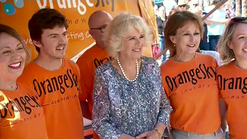 Camilla, Duchess of Cornwall, met with the Orange Sky Australia charity, the world's first free mobile laundry service for homeless people.