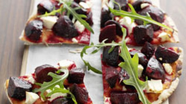 Roasted beetroot and fetta pizza