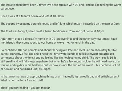 The woman has explained her situation on Mumsnet.