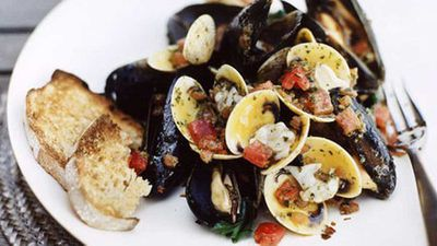 """Recipe:<a href=""""http://kitchen.nine.com.au/2016/05/19/15/51/clams-and-mussels-in-crazy-water"""" target=""""_top"""">Clams and mussels in crazy water</a>"""