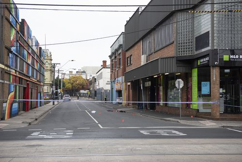 The scene the shooting outside Love Machine nightclub in Prahran, Melbourne. (AAP Image/Ellen Smith)
