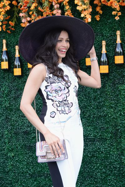 Freida Pinto in Elie Saab at the Veuve Clicquot Polo Classic in New York.