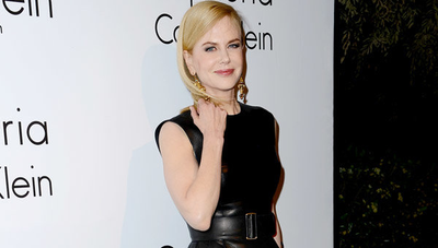 Nicole wore a bombshell black leather Calvin Klein dress in 2013.