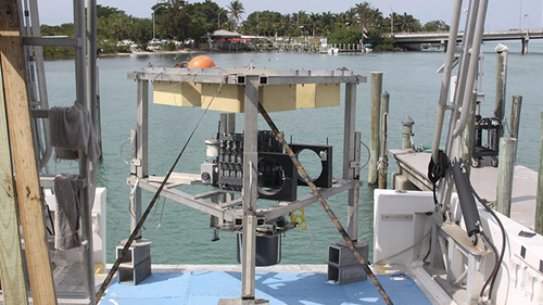The benthic lander was deployed to the bottom of Amberjack Hole to collect data and samples for longer periods than divers can, right where the bottom water meets the sediment.
