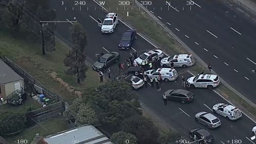 Tyres blown, the woman was cornered by multiple police cars. (Victoria Police)