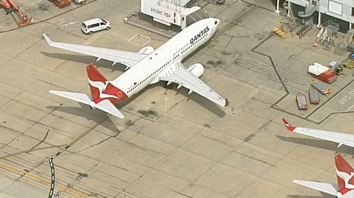 The Qantas plane landed safely at Melbourne Airport.