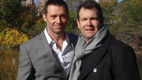 Grill Team host Gus Worland (right) and Hugh Jackman. (AAP)