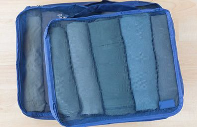 Blue packing cubes