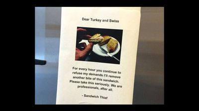 But that doesn't scare the thief, who begins posting pictures of the sandwich slowly being devoured.