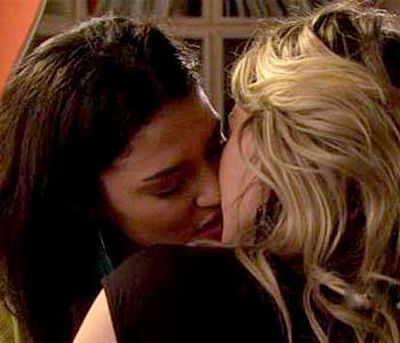 """<B>The kiss:</B> Vanessa (Jessica Szohr) and Olivia (Hilary Duff) have a chaste onscreen taste of each other's lips during a season-three threesome with Dan (Penn Badgley).<br/><br/><B>Tacky or touching?</B> Tacky. There was something of the """"girls only kiss each other to impress boys"""" stereotype to this moment — mostly because of the sleazy leer on Dan's face while his gal-pals smooched. While it's an intriguing theory for wishful heterosexual males, it doesn't make for a particularly meaningful plot."""