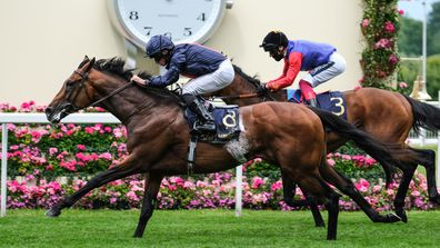 Russian Emperor ridden by Ryan Moore (L) beats The Queen's horse, First Receiver ridden by Frankie Dettori (R) in the Hampton Court Stakes during Day 2 of Royal Ascot at Ascot Racecourse on June 17, 2020 in Ascot, England