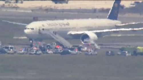 A Saudi Airlines jet was also threatened. (CBS News)