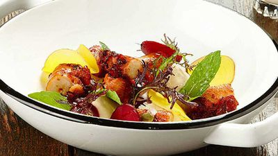 <strong>Gary Mehigan's octopus with cauliflower skordalia and pickled radish</strong>