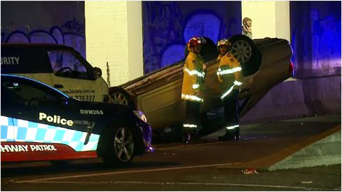 A man has escaped with minor injuries after his car flipped in a Strathfield crash last night.