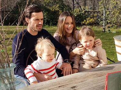 Prince Carl Philip and Princess Sofia of Sweden with their two sons.