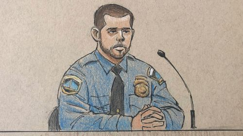 This courtroom sketch depicts Minneapolis police officer Matthew Harrity as he testifies.