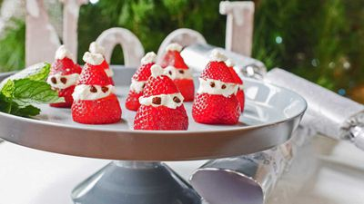 "Recipe: <a href=""https://kitchen.nine.com.au/2017/12/19/19/09/strawberry-santas"" target=""_top"">Be Fit Food strawberry Santa</a>"