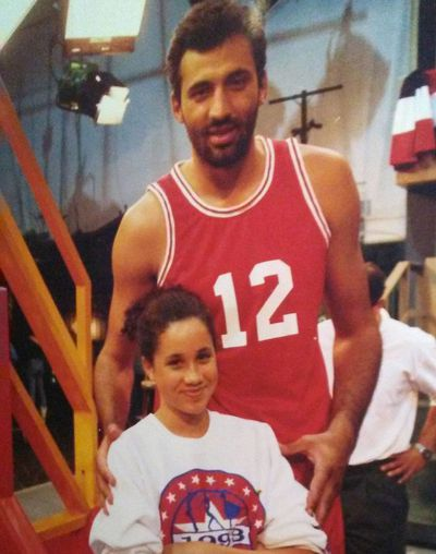 Meghan Markle, age 12, with Serbian basketball star Vlade Divac