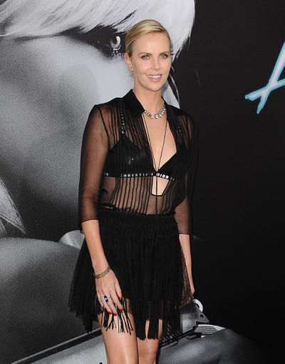 Charlize Theron brave and bold in black Dior at the premiere of <em>Atomic Blonde</em> in Los Angeles on Monday.