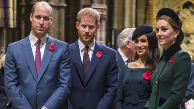Prince William, Prince Harry, Meghan Markle, Kate Middleton Remembrance Day Service Westminster Abbey 2019