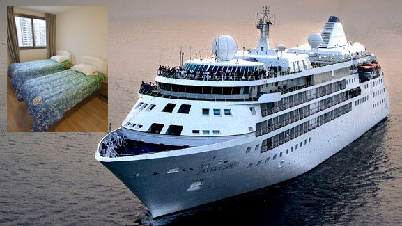 The luxury cruise ship the dream team will call home and (inset) the Rio athlete's village.