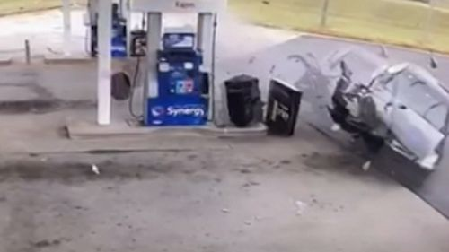 A driver has been killed after his out-of-control car flew off a roadway in Atlanta, Georgia in the United States and smashed into a shopfront.