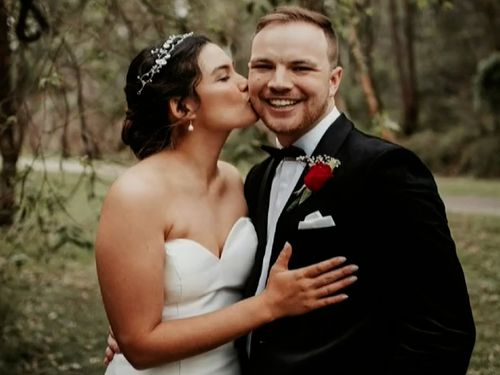 Penrith couple Hayden and Hannah Potter on their wedding day.