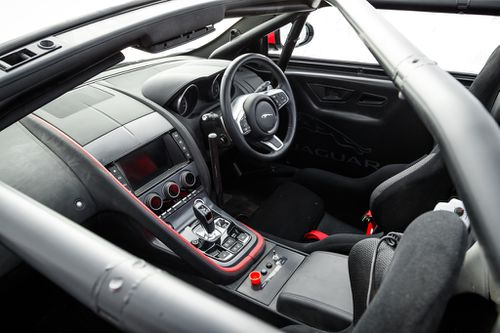 The interior looks standard, but is equipped for intentional racing.