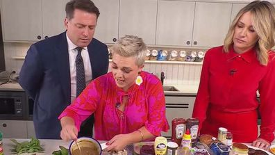 Jane de Graaff cooks pub classics with Karl Stefanovic and Leila McKinnon