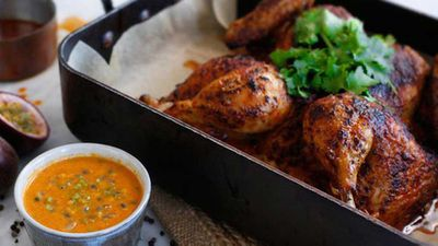 <strong>Roast chicken with spicy Peruvian passionfruit sauce</strong>