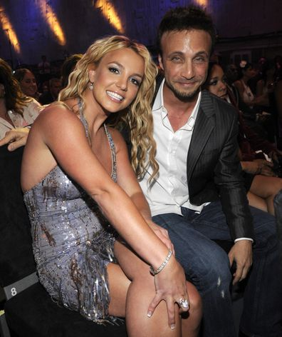 Britney Spears and Larry Rudolph in the audience at the 2008 MTV Video Music Awards at Paramount Pictures Studios on September 7, 2008 in Los Angeles, California.  (Photo by Kevin Mazur/WireImage)