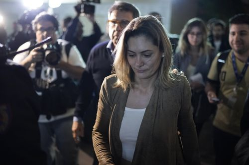 Michelle Bolsonaro, the wife of the National Social Liberal Party presidential candidate, arrives at hospital.