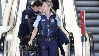 Police arrive at Sydney domestic airport on July 07, 2020 in Sydney, Australia.