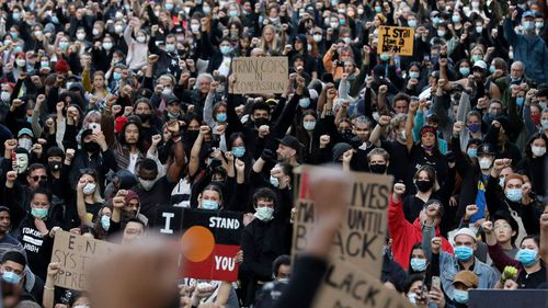 Thousands rallied in Sydney in support of the Black Lives Matter movement. (Rick Rycroft) (AP)