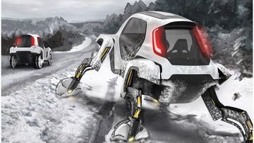"Hyundai unveiled their new ""elevate' model that has extendable legs to help reach difficult places in emergencies."
