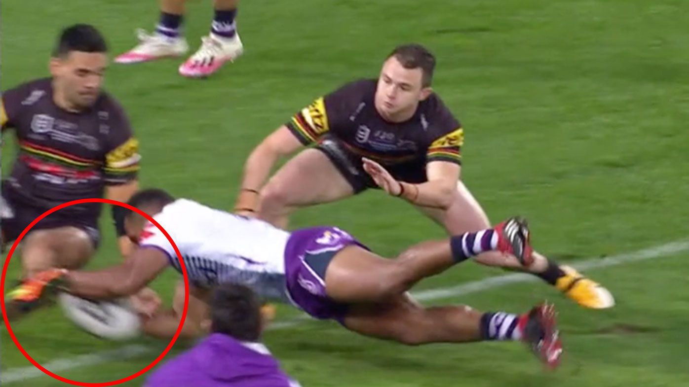 Melbourne Storm's Justin Olam awarded penalty try after Tyrone May sticks his foot out