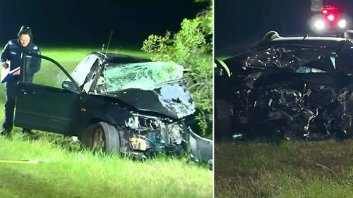 A car and a ute collided head-on in Sunbury. (9NEWS)