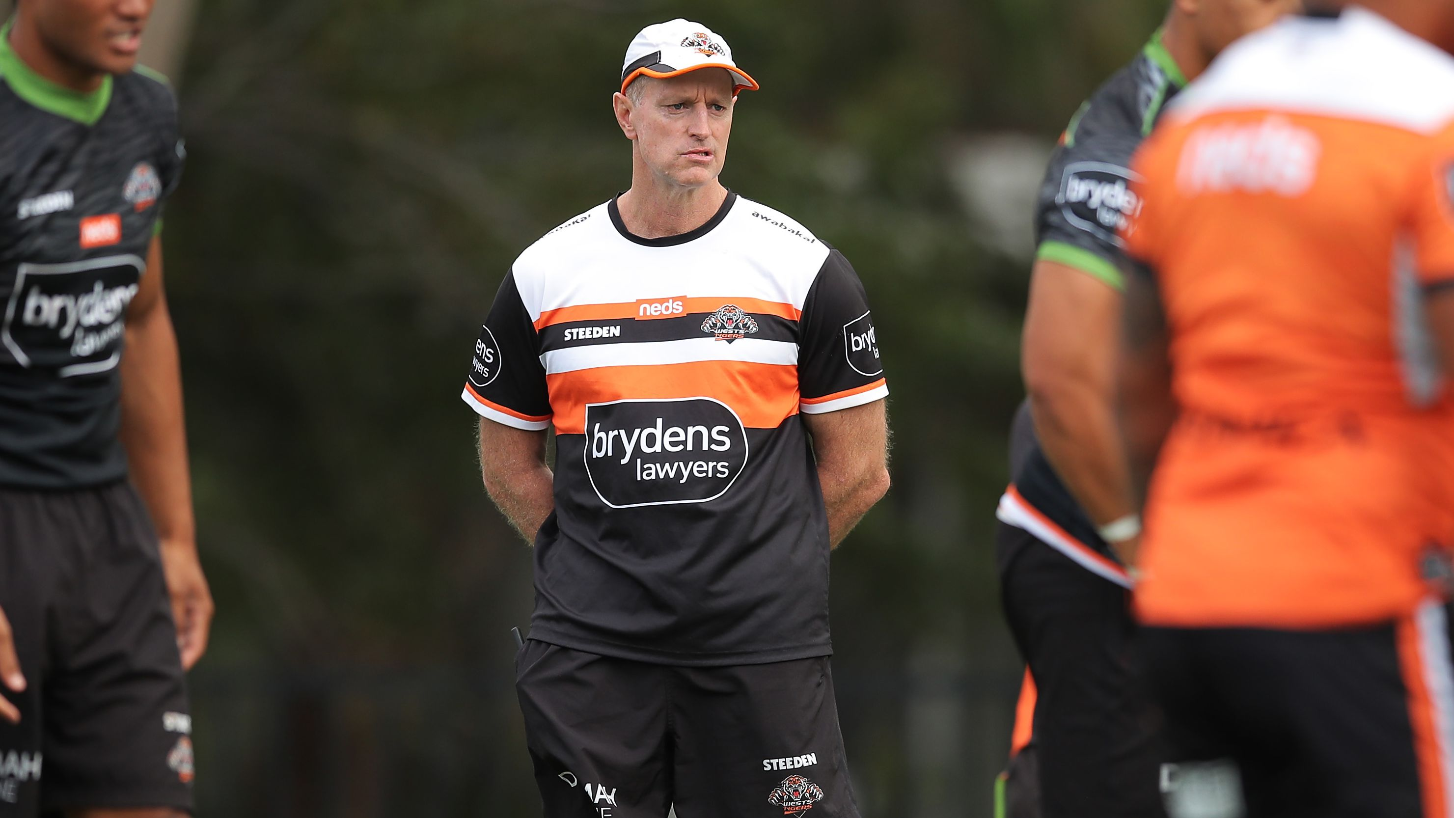Tigers coach Michael Maguire looks on during a training session.