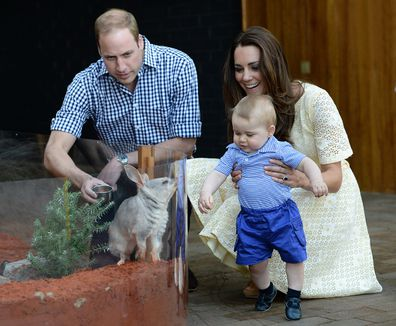William, Kate and George view a Bilby and officially name the Prince George Bilby Exhibit, as part of their tour of New Zealand and Australia in Sydney, Australia, on the 20th April 2014.