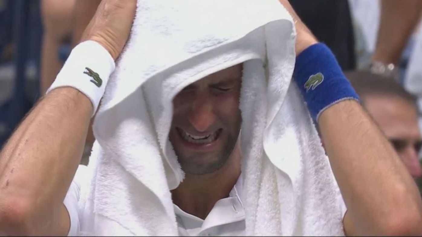 Novak Djokovic cries during the final change of ends in his US Open final loss to Daniil Medvedev.