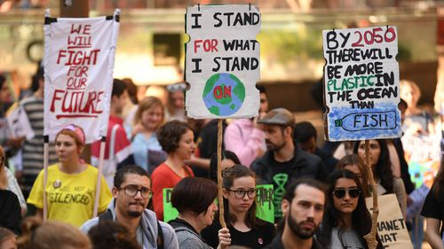 Protesters during May's climate march.