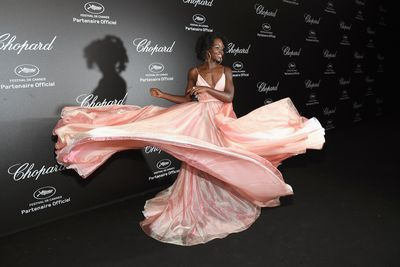 Lupita Nyong'o in Prada at the Chopard Secret Night during the 71st annual Cannes Film Festival, May, 2018