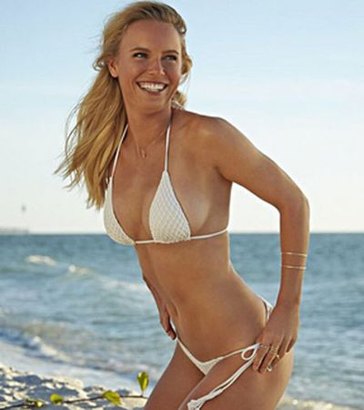 Wozniacki swapped her racquet for a swimsuit photoshoot earlier this year.