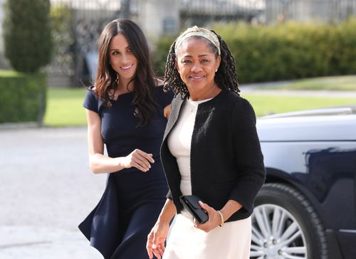 Meghan Markle was glowing as she walked alongside mother, Doria. (AAP)