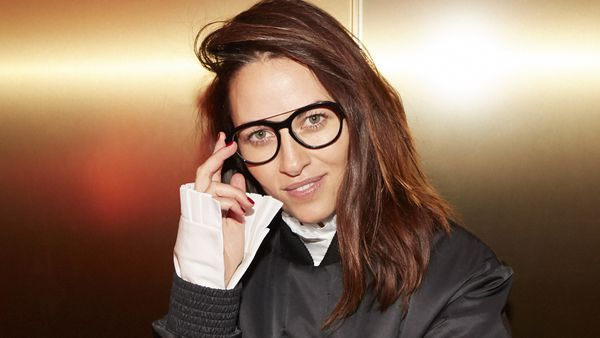 Kym Ellery wearing her latest design for Specsavers. Image: Specsavers